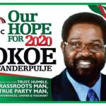 Okoe Vanderpuije for President campaign posters out