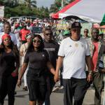 Prof Joshua Alabi and Mrs Professor Goski Alabi at Cape Coast today for the NDC Unity Walk(Pictures ...
