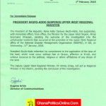 Akufo-Addo Suspends Upper-West Regional Minister