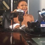 Akuapem Poloo thanks Nana Addo as she addresses the press after prison release