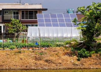 8 July 2011-Kimpo, South Korea- Solar panels installed on a farmhouse in Kimpo, Kyungki Province. Each hour, the sun radiates more energy on our planet than our entire population consumes in a year. Solar panels, which are made of many Photovoltaic (PV) cells, absorb this energy and convert it into electricity. Solar power generation helps to preserve environment and it is a renewable and non-polluting source of energy. A typical 3 kW PV system can reduce carbon emissions by more than 2000 kgs each year.  Photo Credit:Kibae Park /UN Photo