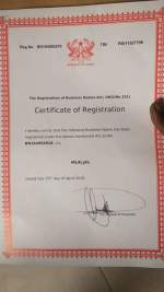 Ghanaian Certificate of Registration and License