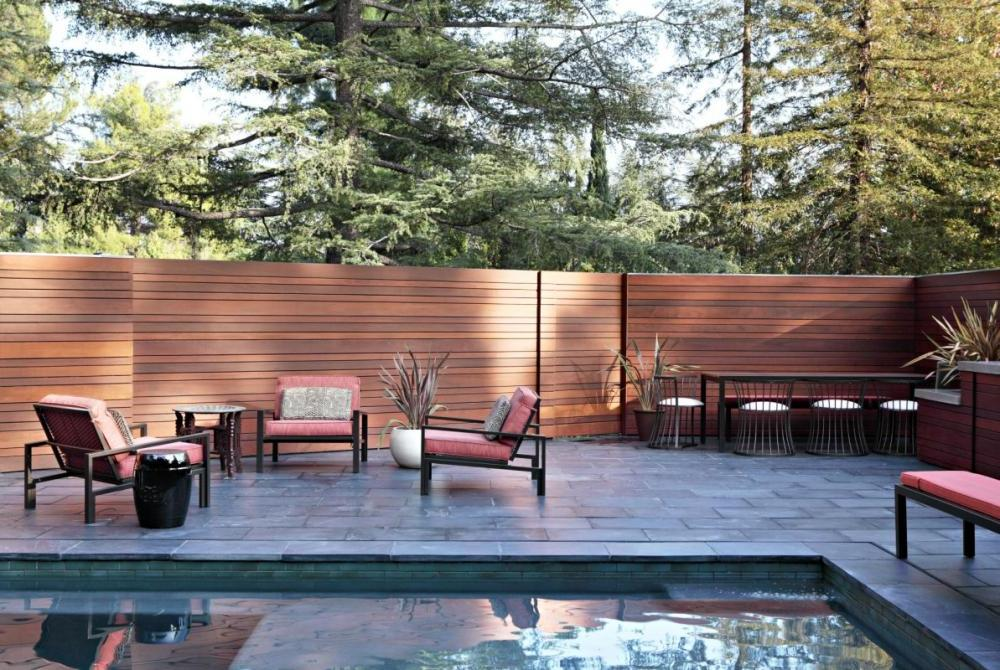 Modern-Residence-With-Backyard-Decor-With-High-Wooden ... on Backyard Wooden Fence Decorating Ideas id=83091