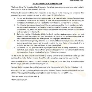 Press release by revelation church on Moesha Boduong Issue
