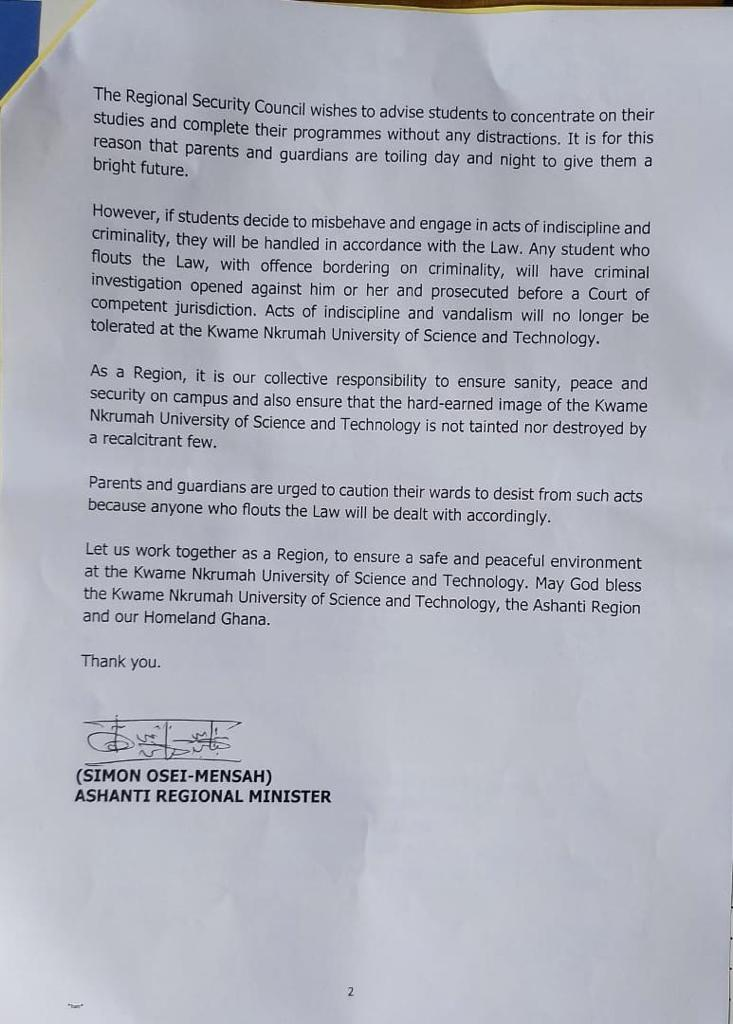 Students Of KNUST Directed To Leave Campus By Saturday
