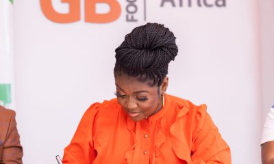 Actress , Jackie Appiah Sighted Signing GB Foods Ambassadorial Documents