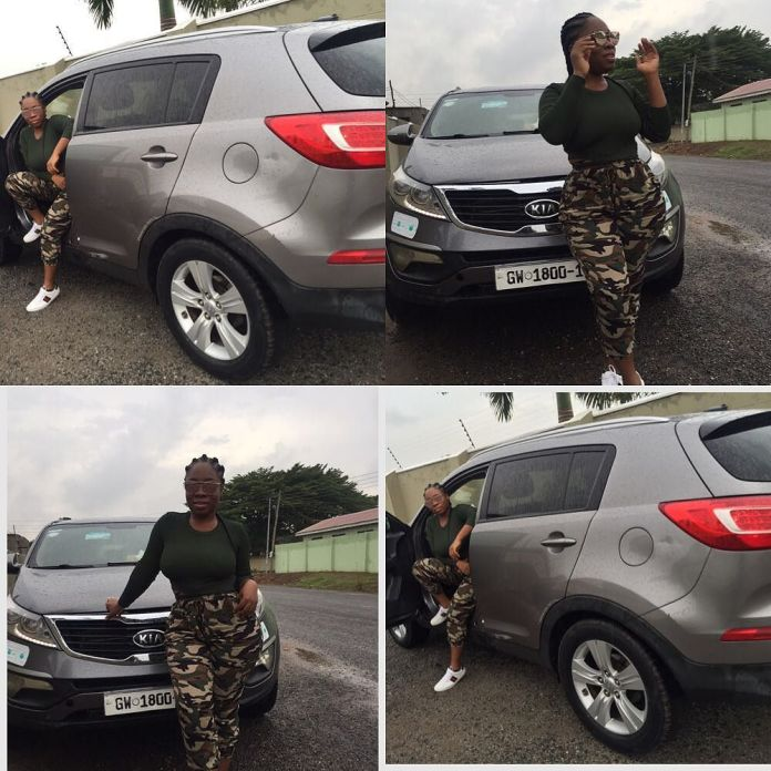Moesha flaunting her new car