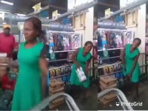 Busted: Woman caught stealing a Pack T-Roll from a Supermarket (Watch Video)