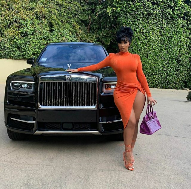 Cardi B flaunts the Rolls Royce Offset bought for her birthday