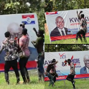 Watch Video: 3 Guys Spotted Dancing Infront Of Nana Addo's Poster Will Leave A Smile On Your face