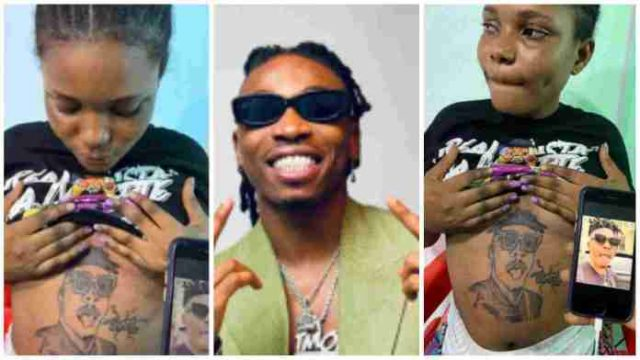 'Is this love or madness?' – Reactions as pregnant lady tattoos Mayorkun's face on her stomach [Video]