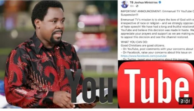TB Joshua's YouTube Account Has Been Deleted (Details)