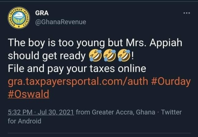 GRA chases Oswald's teacher Mrs Appiah for tax on Items she Received
