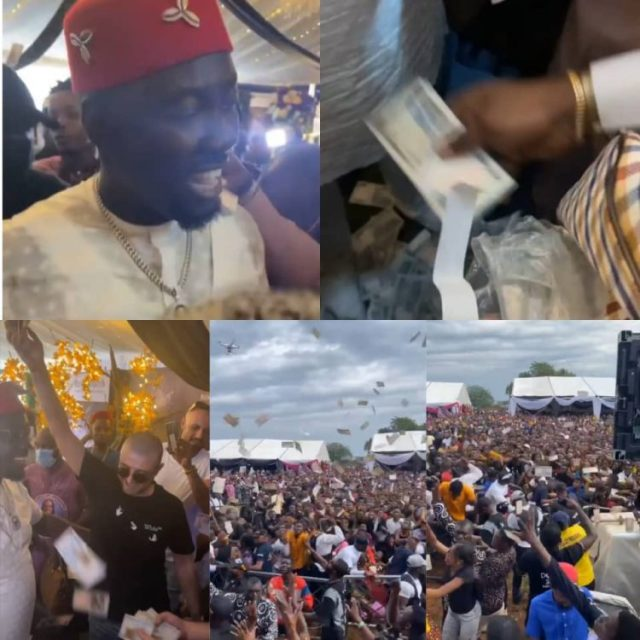 Unlimited money rain at Obi Cubana's mum's funeral as residents and bouncers struggle to pick money sprayed [Videos]