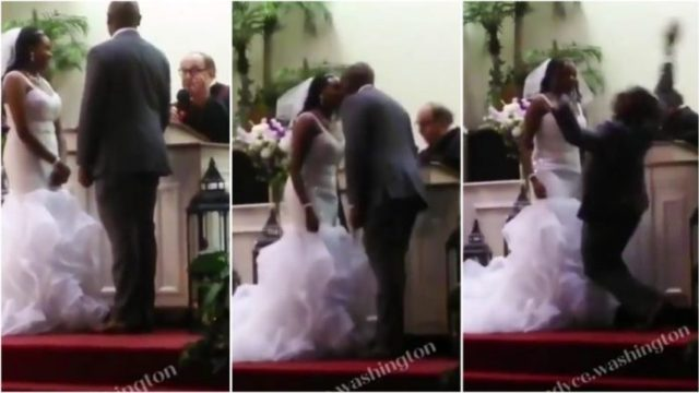 Grooms Falls Flat Under The Anointing Of The Holy Spirit After Kissing Bride On Her Wedding Day