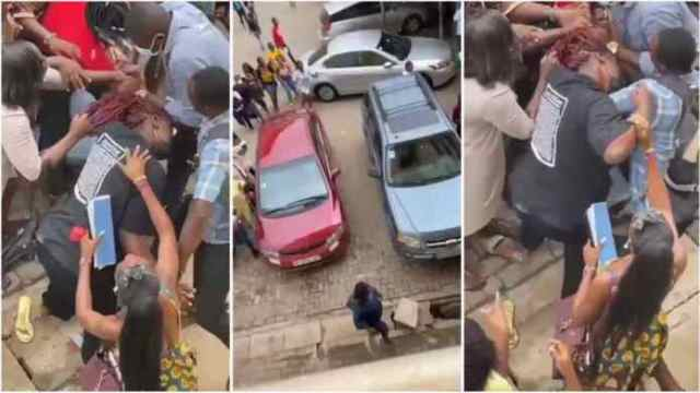 Drama As Two Female Students Of Accra Technical University Exchange Blows Over a Man (Watch Video)