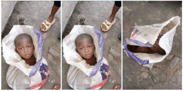 Ghana Police Arrests A Man Who Packaged His 3-Year-Old Son Inside A Rice Bag For Sale (Photos)