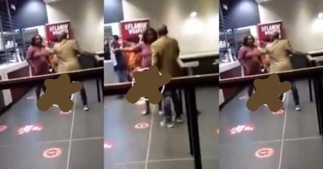 Man receives hefty slaps from wife after catching him with a side chick inside a KFC joint (Watch Video)