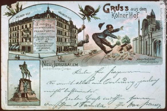 """Antisemitische Postkarte: """"Das einzige judenfreie Hotel in Frankfurt am Main"""" (1897)"""
