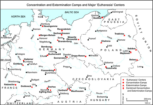 "Concentration and Extermination Camps and Major ""Euthanasia"" Centers"