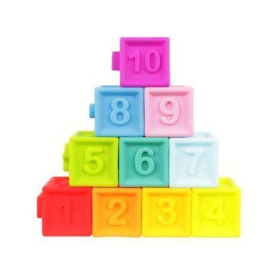 Set cuburi moi bebeluși cu cifre și culori diferite