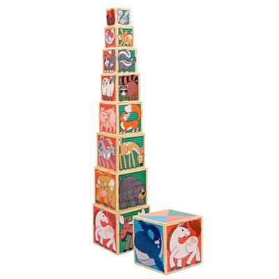 Turn cuburi din lemn piramidă cu animăluțe Melissa & Doug