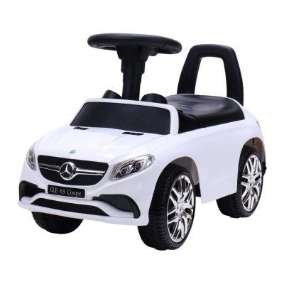 Mașinuță fără pedale Mercedes albă cu sunete