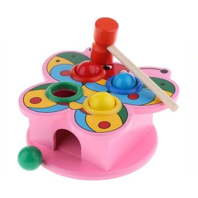 Jucărie educativă din lemn cu ciocănel și bile
