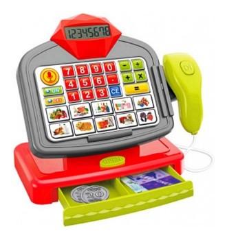 Casă de marcat de jucărie cu calculator real și sertar