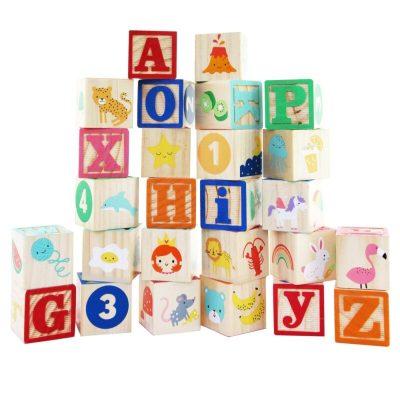 Set cuburi din lemn colorate cu litere, cifre și animăluțe