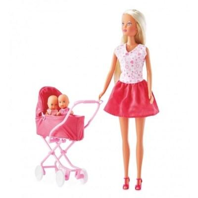Păpușă cu gemeni și cărucior - Steffi Love
