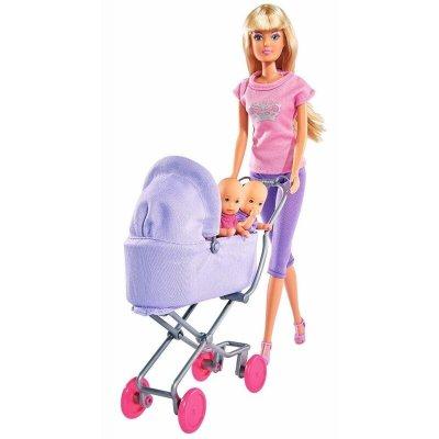 Păpușă cu cărucior și gemeni Sunshine Twins - Steffi