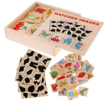 Joc memorie din lemn imagini și umbre