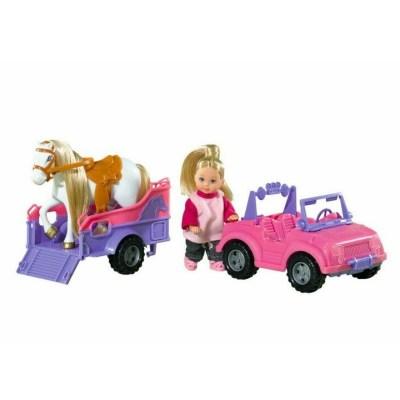 Păpușă în mașinuță și trailer cu căluț - Evi