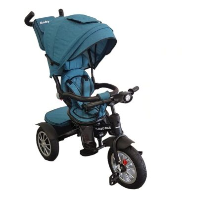 Tricicletă cu poziție de somn și scaun reversibil Turbo Bike turcoaz
