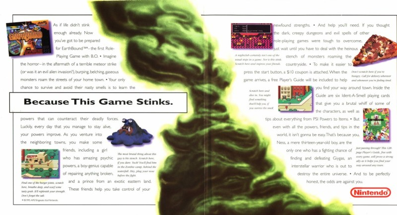 Chrono Trigger vs Earthbound a scratch and sniff marketing insert.