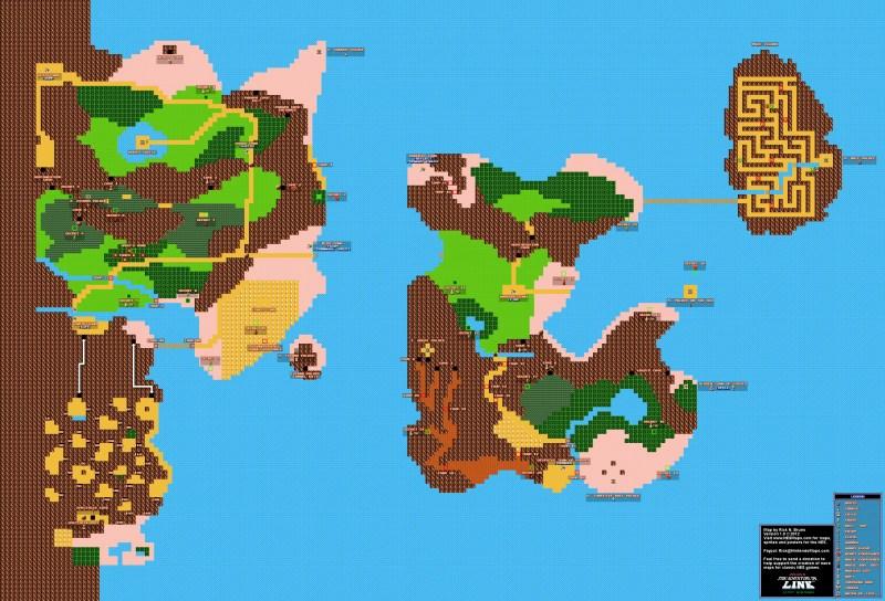 Zelda 2 NES overworld map
