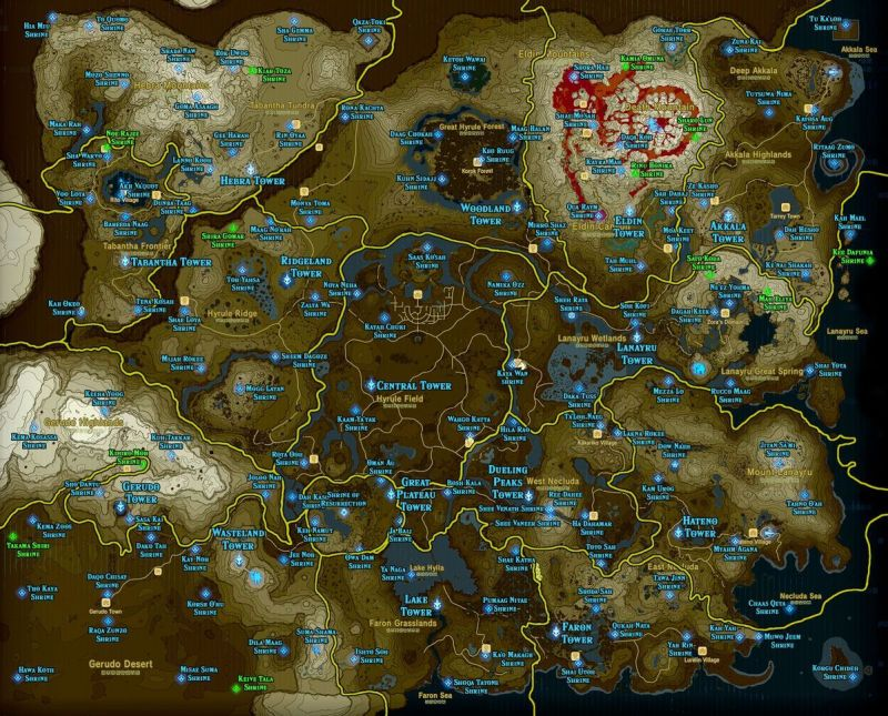 Breath of the Wild open world map
