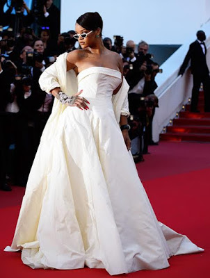 Rihanna Wows In All White At Cannes Film Festival 2017