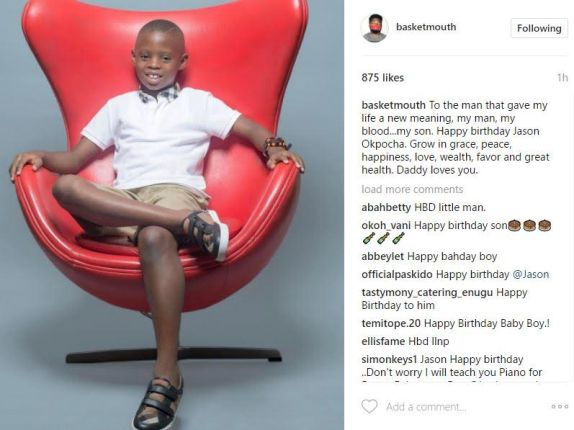 """""""You Gave My Life A New Meaning"""" – Basketmouth Celebrates His Son As He Turns 9"""