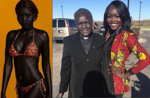Sudanese Model, 'Queen Of The Dark' Accused Of Faking Her Black Skin Colour After Sharing Lighter Photo With Her Mom