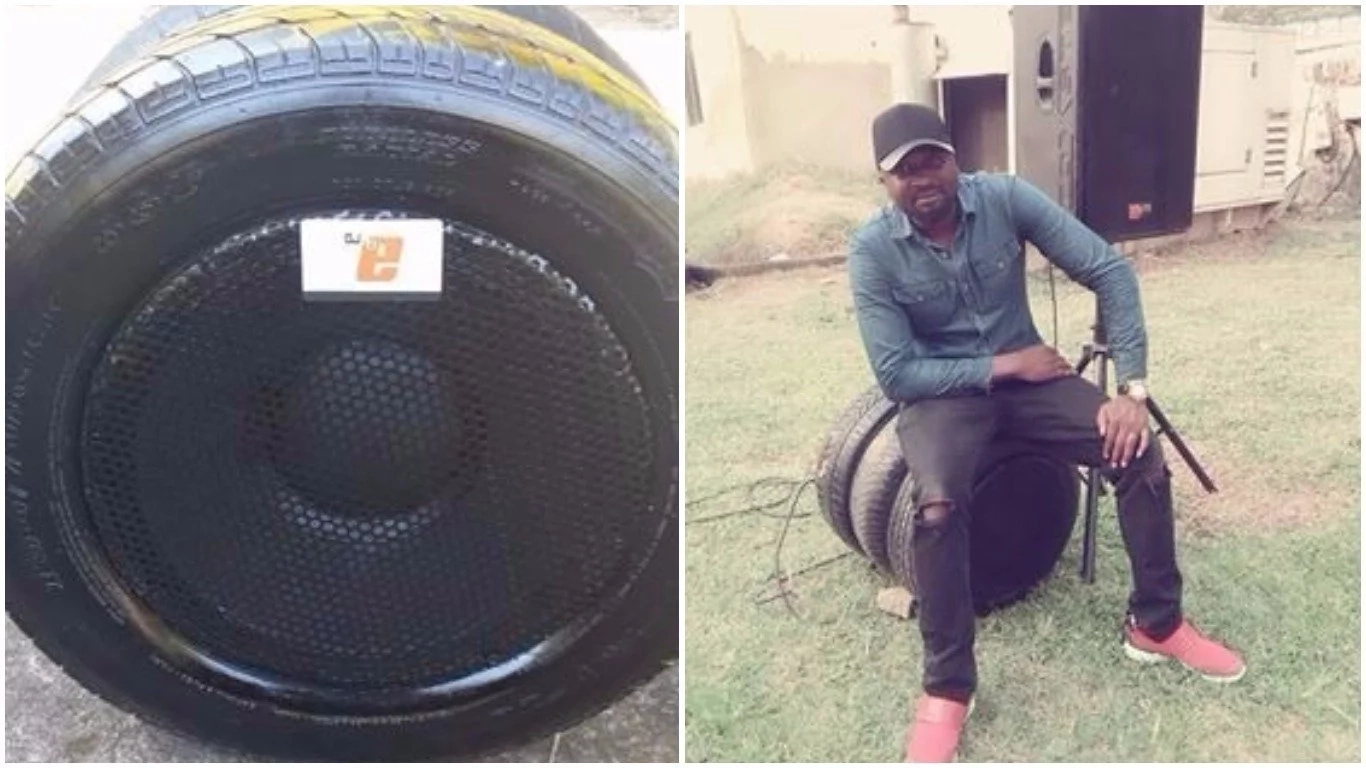 Naija Man Transforms Used Tyres Into Speakers And It's A Must (+Photos)