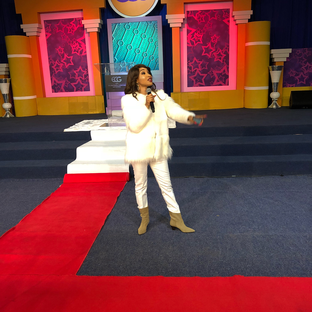 VIDEO: Tonto Dikeh Preaches To Over 7,000 Members of ECG Church In South Africa