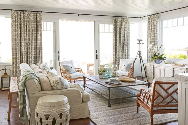 shiplap beach style living room image ideas atlanta beige curtains