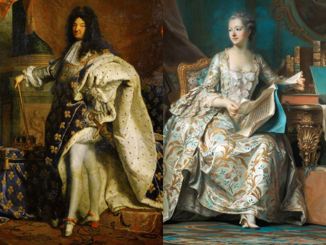 Though heels today are wore almost exclusively by women, the style was popular among men throughout the 1600s and 1700s. French royalty in particular, like Louis XIV (left) and Marquise de Pompadour (right), were fans of the heeled shoe as it conveyed that the wearer had no use for practical footwear, or the need to walk easily.