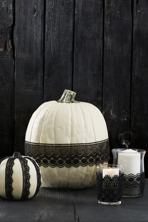 Choose ribbon or lace, then attach to pumpkins, candleholders or even wineglasses with a few swipes of Mod Podge. Let dry, then display. Done!
