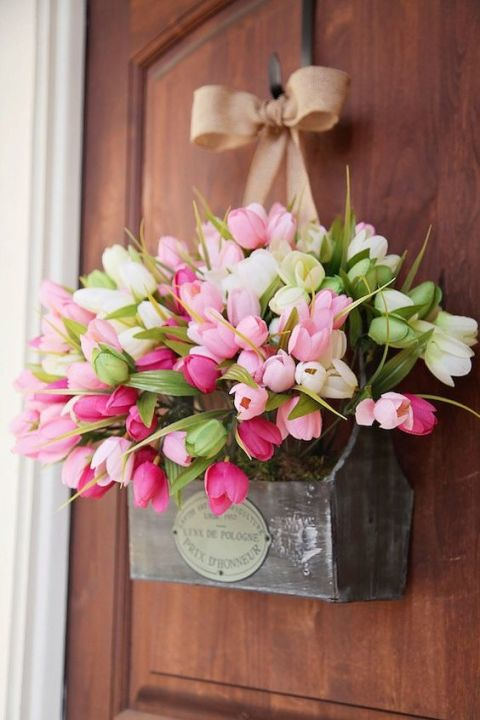 "Reimagine Easter wreaths by hanging an overflowing springtime floral arrangement, perched in a perfectly distressed wooden box, from a ribbon on your door. Prettiest ""wreath"" on the block? We'd say so.See more on Pinterest »"