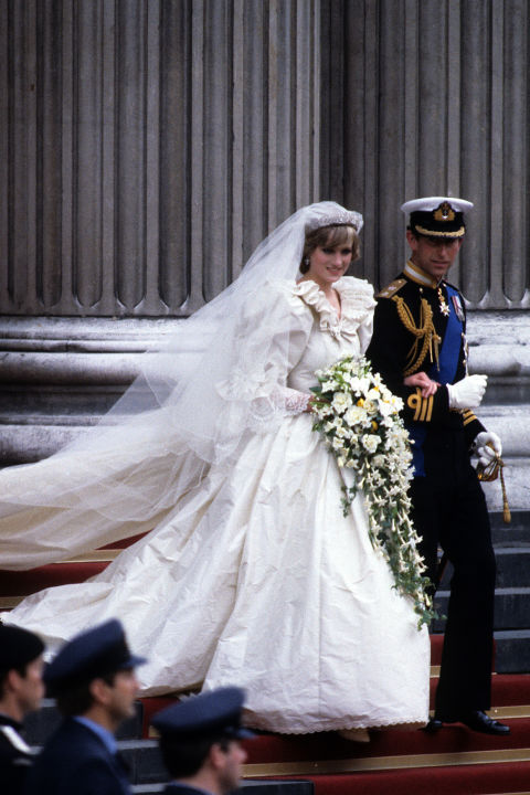 "With a 25-foot train and 10,000 pearls, co-designer David Emanuel didn't downplay Diana's most famous fashion moment: Her wedding. ""I wanted the dress to reflect that but she was going in as Lady Diana Spencer and coming out as the Princess of Wales,"" he said last year. ""If you did a subtle little number, it's not going to work!"""