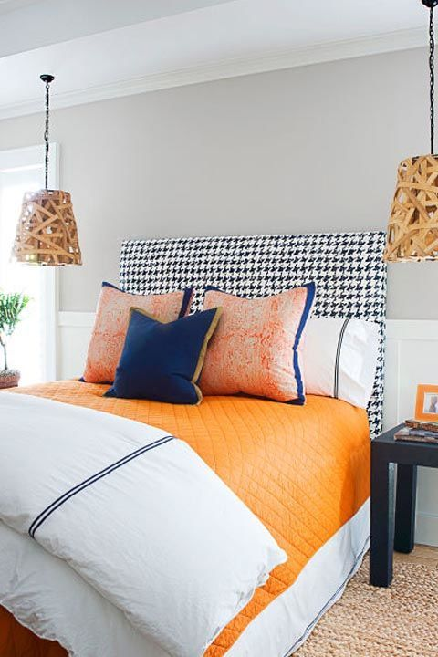 The simple addition of rickrack, ribbon or trim borders on bed skirts, pillowcases or shams can yield glowing results. The blue details on this bedding ties in colors from the headboard and creates a cohesive look. Get the look: blue ribbon, $11, amazon.com