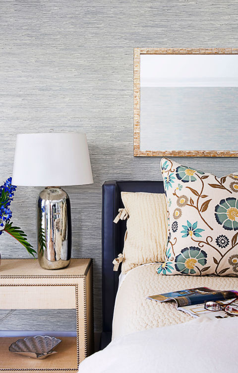These days wallpaper doesn't have to be the hassle it once was thanks to stick-on designs. Here, you can see what a striking statement blue sea grass wallpaper makes, while also creating a calming space. Get the look: wave pattern wallpaper, $28, amazon.com